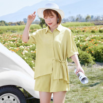 Women's large Summer 2021 Jasmine yellow in stock, jasmine yellow 2XL,3XL,4XL,5XL,6XL,XL shirt Two piece set commute easy thin Solid color Simplicity routine Polyester, others T2104041 MS she / mu Shan Shiyi 25-29 years old Button 31% (inclusive) - 50% (inclusive) shorts