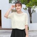 Women's large Summer 2021 Pearl apricot spot, pearl apricot, classic black spot, classic black Large XL, 2XL, 3XL, 4XL, 5XL, 6xl shirt singleton  commute easy thin Socket Short sleeve Solid color lady Crew neck routine Cotton, nylon, others T2087133 MS she / mu Shan Shiyi 25-29 years old