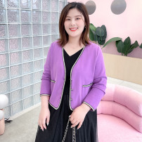 Women's large Spring 2021 Purple rose in stock Large XL, 2XL, 3XL, 4XL, 5XL, 6xl Jacket / jacket singleton  commute easy moderate Cardigan Long sleeves Solid color Ol style V-neck have cash less than that is registered in the accounts Polyester, others T2088085 MS she / mu Shan Shiyi 25-29 years old