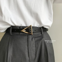 Belt / belt / chain Pu (artificial leather) Black, brown female belt Simplicity Single loop Youth, youth, middle age Pin buckle Geometric pattern Glossy surface alloy alone