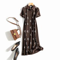 Dress Summer 2021 Black, brown 3XL,2XL,XL,L,M Mid length dress singleton  Short sleeve street Polo collar middle-waisted Abstract pattern Socket A-line skirt routine Others printing 51% (inclusive) - 70% (inclusive) cotton Sports & Leisure
