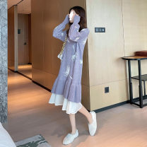 Dress Winter 2020 Khaki, grey blue Average size Mid length dress singleton  Long sleeves commute Crew neck Loose waist other Socket Ruffle Skirt routine 18-24 years old Type A JTO LADY Korean version G418 31% (inclusive) - 50% (inclusive) other other