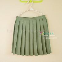 skirt Spring 2017 XS,S,M,L,XL,4XL,XXL,XXXL Pure army green skirt Short skirt Versatile High waist Pleated skirt Solid color