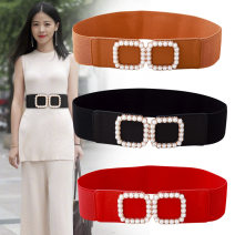 Belt / belt / chain Pu (artificial leather) Black, camel, white, red female belt Versatile Single loop youth Double buckle Glossy surface soft surface 6.2cm alloy Naked, elastic yf-z40 62cm
