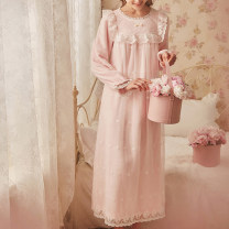 Pajamas / housewear set female Other / other other Long sleeves Sweet pajamas winter thickening Crew neck Solid color trousers Socket youth 2 pieces rubber string lace longuette
