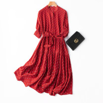 Dress Spring 2021 Retro Red print L,XL Mid length dress singleton  elbow sleeve commute stand collar Loose waist Socket Big swing routine Type A Manis Retro L--5 More than 95% Crepe de Chine silk
