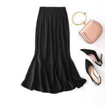 skirt Summer 2020 L,XL Navy, little black dress Mid length dress Versatile Natural waist skirt Solid color Type O 91% (inclusive) - 95% (inclusive) silk