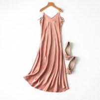 Dress Spring 2021 L,XL longuette singleton  Sleeveless commute V-neck Solid color Socket Manis Retro 91% (inclusive) - 95% (inclusive) Silk and satin silk