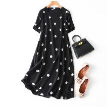 Dress Summer 2020 L,XL Mid length dress singleton  Short sleeve commute Crew neck Loose waist Dot Socket routine Type H Simplicity More than 95% Crepe de Chine silk