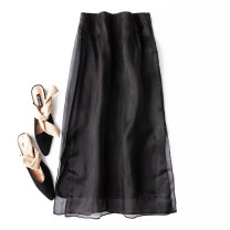 skirt Spring 2021 S,M,L,XL,2XL Classic black Mid length dress commute High waist skirt Solid color Type A More than 95% silk