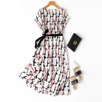 Dress Spring 2021 Pop printing Loose one size fits all longuette singleton  Short sleeve commute One word collar Loose waist Socket routine Manis --49 91% (inclusive) - 95% (inclusive) Silk and satin silk