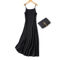 Dress Summer 2021 Versatile black M,L,XL longuette singleton  Sleeveless commute Loose waist Solid color Socket Type A Simplicity 91% (inclusive) - 95% (inclusive)