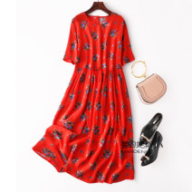 Dress Summer 2020 Beautiful orange Loose one size fits all longuette singleton  Short sleeve Sweet Crew neck middle-waisted Socket routine Type A D--2--344 More than 95% Crepe de Chine silk