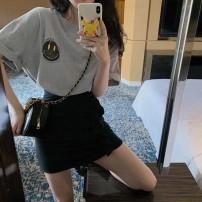 Professional dress suit S=1,M=2,L=3,XL=4 Grey Top + black skirt Summer 2021 Short sleeve S&M1910316 A-line skirt