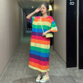 Women's large Summer 2020 Rainbow Stripe M (80-120 kg), l (120-150 kg), XL (150-180 kg) Dress singleton  commute easy moderate Socket Short sleeve Stripes, letters Korean version Crew neck Medium length cotton printing and dyeing routine T2024 25-29 years old Resin fixation longuette other