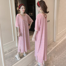Dress Summer 2020 Red and white stripes M,L,XL longuette singleton  Short sleeve commute Crew neck Loose waist stripe Socket A-line skirt routine Others 18-24 years old Type H Korean version backless T1902 More than 95% knitting cotton