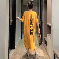 T-shirt yellow M,L,XL Summer 2020 Short sleeve Crew neck easy Medium length routine commute cotton 86% (inclusive) -95% (inclusive) 18-24 years old Korean version youth Letters, numbers T510 Printed, pleated, open back