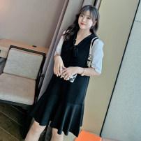 Women's large Spring 2021 black Dress singleton  commute easy moderate Socket Long sleeves Korean version Crew neck Medium length other 25-29 years old 31% (inclusive) - 50% (inclusive) Medium length