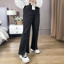 Women's large Spring 2021 Black, blue 1XL,2XL,3XL,4XL,5XL Jeans singleton  commute moderate Solid color Polyester, cotton KZB5326 25-29 years old 51% (inclusive) - 70% (inclusive) trousers