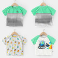 T-shirt Green sleeves on white background, full print of hemp and grey, green stripes Righteuro 90CM,100CM,110CM,120CM,130CM male summer Short sleeve Crew neck leisure time No model nothing other Cartoon animation Other 100% U12948 2, 3, 4, 5, 6, 7, 18 months