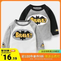 T-shirt Righteuro 90cm,95cm,100cm,110cm,120cm,130cm male spring and autumn Long sleeves Crew neck leisure time No model nothing Pure cotton (100% cotton content) Cartoon animation Cotton 100% Sweat absorption