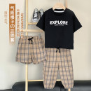 T-shirt Black, x2401 Plaid Shorts, x2400 Plaid mosquito pants Small die 80CM,90CM,100CM,110CM,120CM,130CM male summer Short sleeve Crew neck leisure time There are models in the real shooting nothing Cotton blended fabric Cartoon animation X2365 other