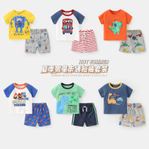 suit Righteuro 90cm,95cm,100cm,110cm,120cm,130cm male summer leisure time Short sleeve + pants 2 pieces routine No model Socket nothing Cartoon animation cotton children Giving presents at school Other 100%