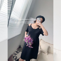 Women's large Summer 2021 Hepburn black Large XL, large XXL, large XXL, large XXXXL, large XXXXL Dress singleton  commute Self cultivation moderate Socket Short sleeve Solid color Korean version V-neck routine polyester Three dimensional cutting routine 96% and above Middle-skirt other