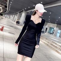 Dress Autumn 2020 black S,M,L,XL Middle-skirt singleton  Long sleeves commute V-neck High waist A-line skirt routine 18-24 years old Korean version WN007591 cotton