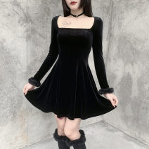 Dress Spring 2021 black S,L,M Short skirt Two piece set Long sleeves street square neck High waist Solid color Socket Big swing routine Others 18-24 years old Splicing 91% (inclusive) - 95% (inclusive) other polyester fiber