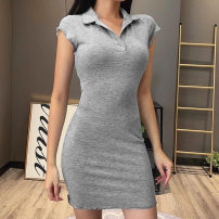Dress Summer 2020 grey S,L,M Short skirt singleton  Short sleeve commute Polo collar middle-waisted Solid color Socket One pace skirt routine Others 18-24 years old Stitching, pleating 91% (inclusive) - 95% (inclusive) other cotton