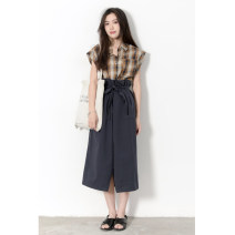 skirt Summer 2021 S,M,L Off white, Navy longuette commute High waist A-line skirt Solid color Type A 25-29 years old More than 95% brocade Other / other cotton pocket Retro 181g / m ^ 2 (including) - 200g / m ^ 2 (including)