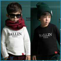 T-shirt Black spot, off white spot Dapu vegetable Five, nine, eleven, thirteen, seven, fifteen male spring and autumn Long sleeves Crew neck There are models in the real shooting nothing cotton Solid color Cotton 100%