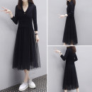 Dress Spring 2021 Black dress S,M,L,XL,2XL,3XL Mid length dress Fake two pieces Long sleeves commute tailored collar Elastic waist Solid color Socket One pace skirt routine Type A Han Xuyi embroidery knitting cotton