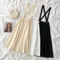 Dress Spring 2021 Black, white, apricot Average size Mid length dress Sleeveless commute High waist Solid color straps 18-24 years old Type A Korean version 51% (inclusive) - 70% (inclusive) cotton