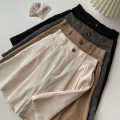 Casual pants Black, gray, apricot, khaki M,L,XL Spring 2021 shorts Wide leg pants High waist commute routine 18-24 years old 96% and above polyester fiber Korean version zipper polyester fiber