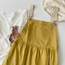 Dress Spring 2021 Blue, yellow Average size Mid length dress singleton  Short sleeve commute other High waist Solid color Socket A-line skirt routine straps 18-24 years old Type A Korean version pocket 51% (inclusive) - 70% (inclusive) other cotton