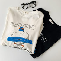 T-shirt White, black Average size Spring 2021 Long sleeves Crew neck easy Regular routine commute cotton 51% (inclusive) - 70% (inclusive) 18-24 years old Korean version classic letter printing