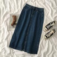 skirt Spring 2021 S,M,L blue longuette commute High waist Denim skirt Solid color Type A 18-24 years old More than 95% Denim Korean version