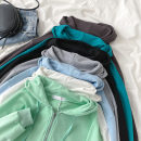 Sweater / sweater Spring 2021 Sky blue, peacock blue, gray, black, white, carbon gray, mint green Average size Long sleeves routine Cardigan singleton  routine Hood easy commute Wrap sleeves Solid color 18-24 years old 51% (inclusive) - 70% (inclusive) Korean version cotton Pocket, zipper, drawcord