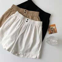 Casual pants White, black, apricot M, L Summer 2021 shorts Wide leg pants High waist commute routine 18-24 years old 96% and above other Korean version pocket cotton