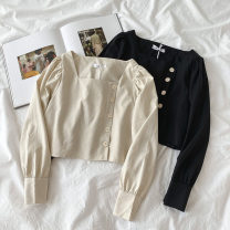 shirt Black, apricot Average size Spring 2021 cotton 51% (inclusive) - 70% (inclusive) Long sleeves commute Short style (40cm < length ≤ 50cm) square neck Single row multi button routine Solid color 18-24 years old Self cultivation Korean version Button Cotton and hemp