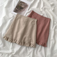 skirt Spring 2021 S,M,L Orange, Beixing Short skirt commute High waist A-line skirt Solid color 18-24 years old 51% (inclusive) - 70% (inclusive) cotton Korean version