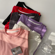 T-shirt Black, white, red, dark gray, light purple, pink Average size Summer 2021 Long sleeves Crew neck easy Regular routine commute cotton 96% and above 18-24 years old Korean version youth Solid color