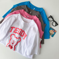 T-shirt Sky blue, pink, milky white, dark gray Average size Summer 2021 Short sleeve Crew neck easy Regular routine commute cotton 96% and above 18-24 years old Korean version youth Animal design printing