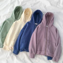 Sweater / sweater Spring 2021 Green, blue, purple, apricot Average size Long sleeves routine Cardigan singleton  Plush Hood easy commute Wrap sleeves Solid color 18-24 years old 51% (inclusive) - 70% (inclusive) Korean version cotton cotton Cotton liner zipper