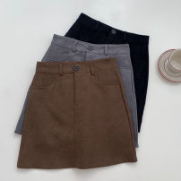 skirt Spring 2021 S,M,L Grey, black, brown Middle-skirt High waist A-line skirt Solid color Type A 18-24 years old More than 95% polyester fiber
