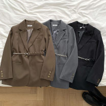 suit Autumn 2020 Black, white, apricot, bluish grey, CAF Average size Long sleeves Medium length tailored collar A button commute routine Solid color 18-24 years old 96% and above polyester fiber