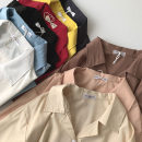 shirt Black, red, white, blue, gray, khaki, yellow, apricot, brown Average size Spring 2021 polyester fiber 96% and above Short sleeve commute Regular Polo collar Single row multi button routine Solid color 18-24 years old Straight cylinder Korean version Button polyester cotton