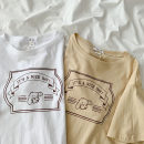 T-shirt White, beige apricot M,L,XL,2XL Summer 2021 Short sleeve Crew neck easy Regular routine commute cotton 96% and above 18-24 years old Korean version classic letter printing